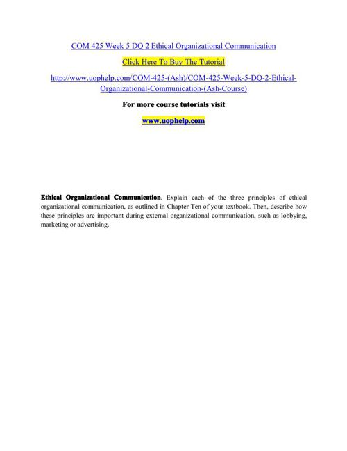 COM 425 Week 5 DQ 2 Ethical Organizational Communication