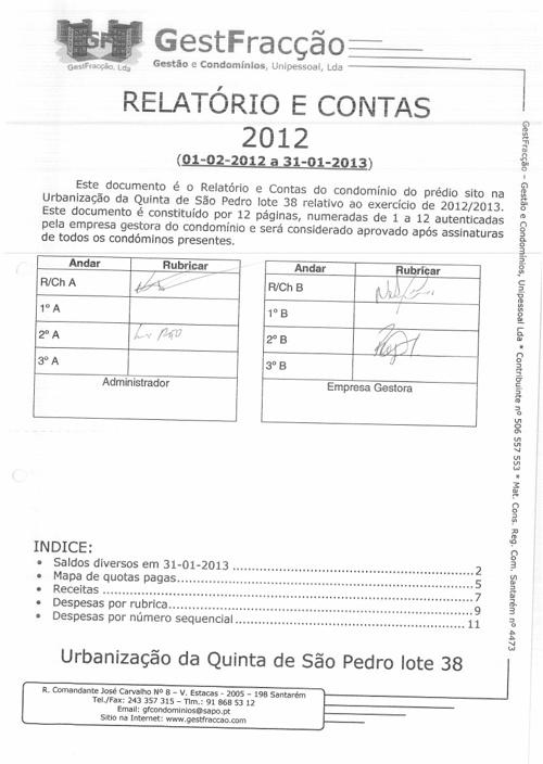 Relatorio de Contas 2012