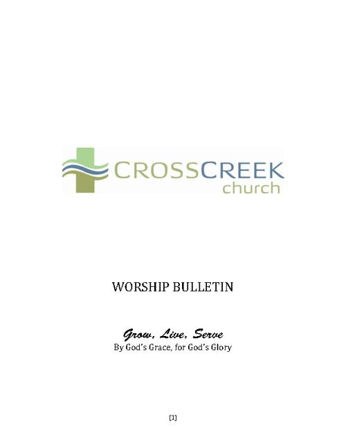 Worship Bulletin - February 19, 2012