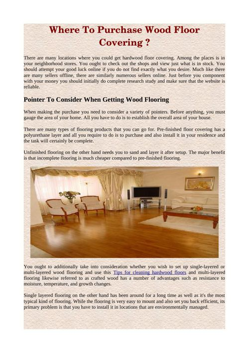 Where To Purchase Wood Floor Covering