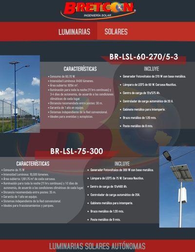 LUMINARIAS SOLARES URBANAS. BRETCON