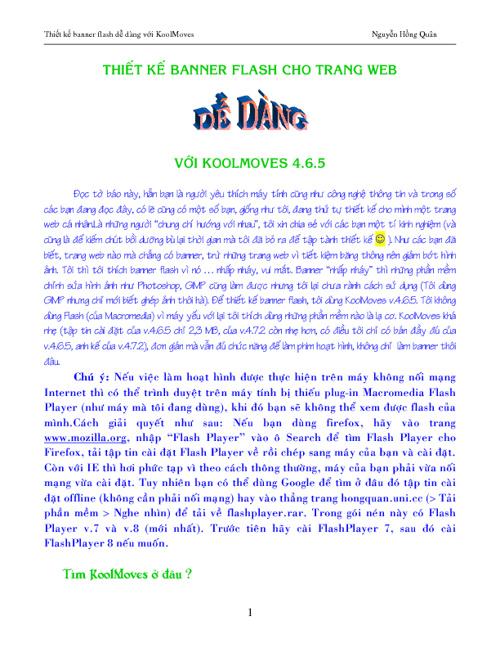 Thiêt kê banner flash dễ dàng với KoolMoves