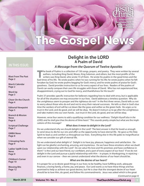 Gospel News April 2018