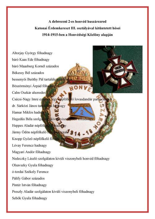 2-es huszárezred Katonai Érdemkereszt III. osztályával kitüntete