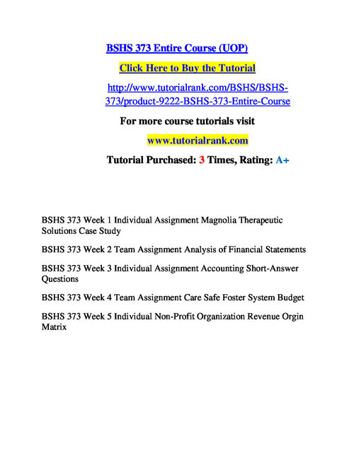 BSHS 373 Course Success Begins / tutorialrank.com
