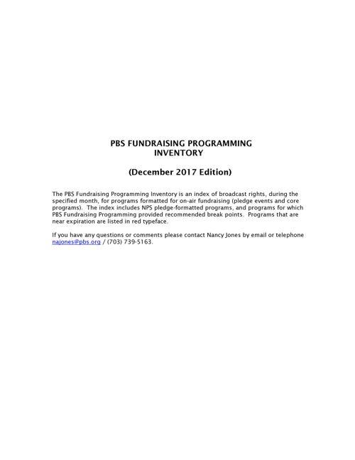 December   2017 Program Inventory