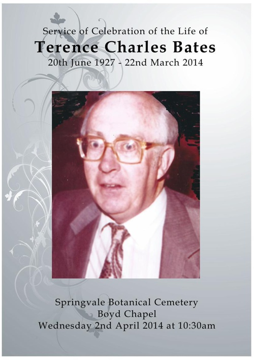 4 Order of Service for Terence Charles Bates