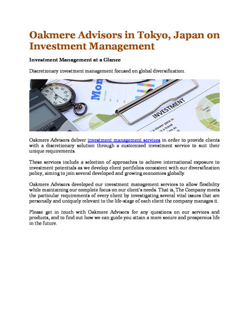Oakmere Advisors in Tokyo, Japan on Investment Management