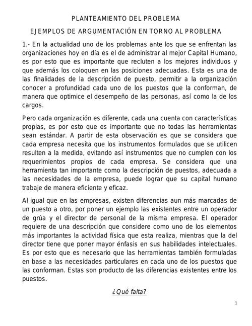 EJEMPLO DE ARGUMENTACIÓN Y PLANTEAMIENTO