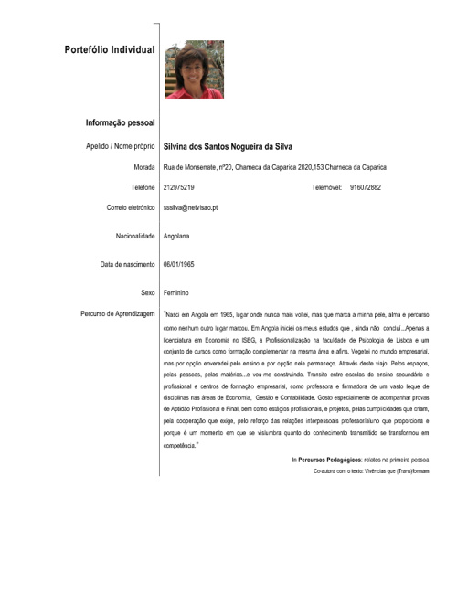 Portefólio candidatura   -  Silvina silva