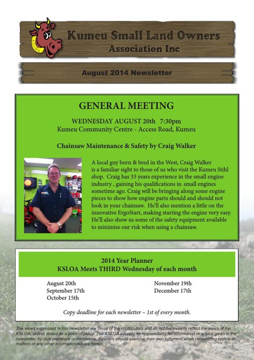 KSLOA august newsletter