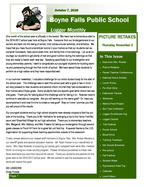 October 7, 2016 Logger Monthly