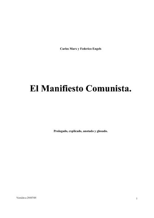 Manifiesto Comunista. v29/07/05
