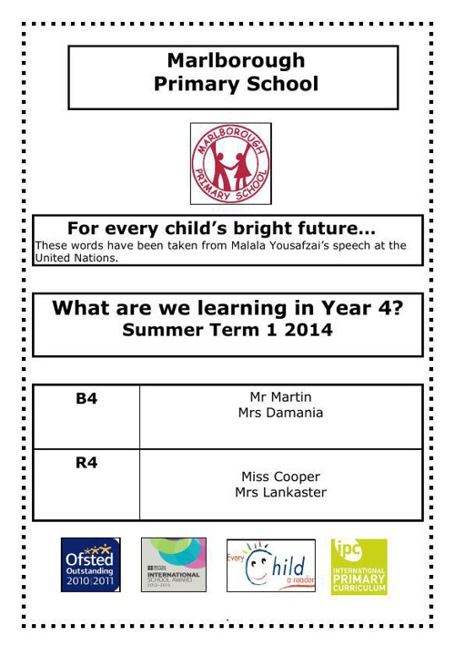 Y4 curriculum letter Summer 1