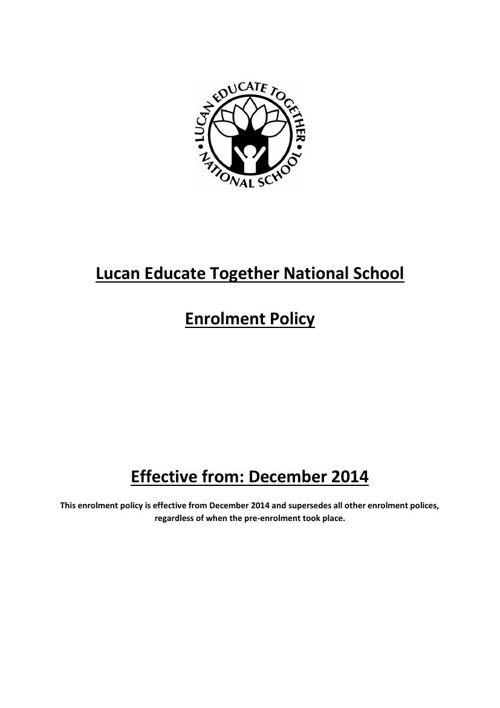 Enrolment Policy 2014