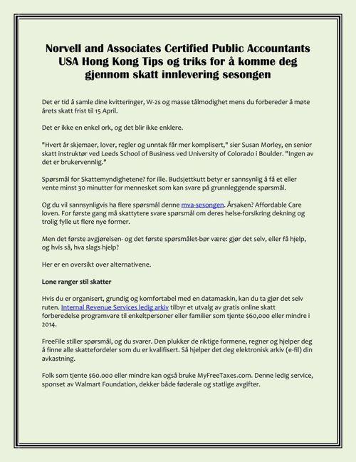 Norvell and Associates Certified Public Accountants USA Hong Kon