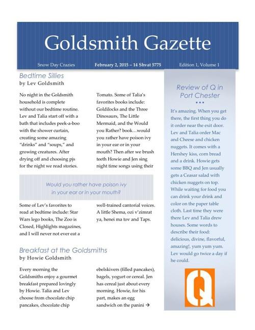 Goldsmith Gazette 2015-2-2