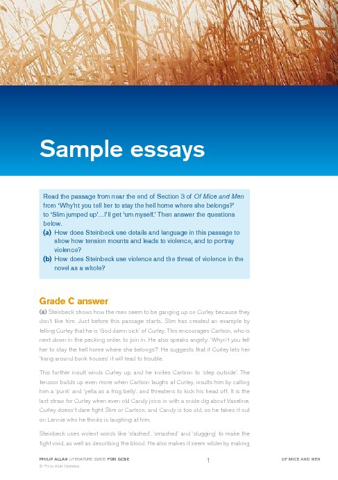 Of Mice and Men Sample Essays