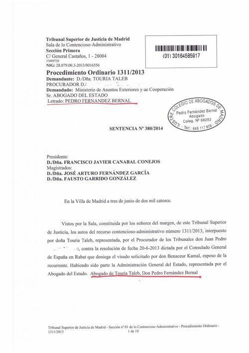 sentencia 2014 estimando visado reagrupacion conyuge marruecos