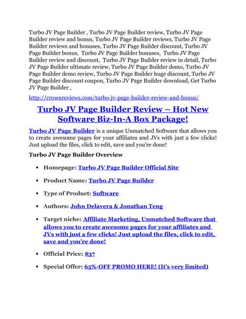 Turbo JV Page Builder review - Turbo JV Page Builder (MEGA) $23,