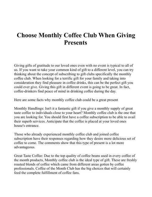 best coffee of the month club