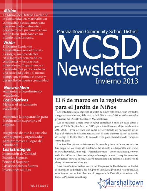 MCSD Newsletter: Winter 2013 (Spanish)