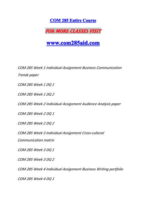 COM 285 AID Experience Tradition/com285aid.com