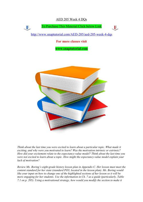 AED 205 Week 4 DQs