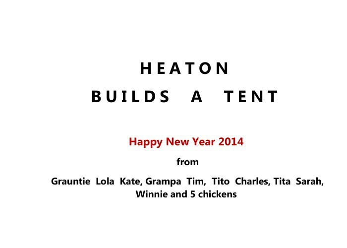 Heaton builds a tent