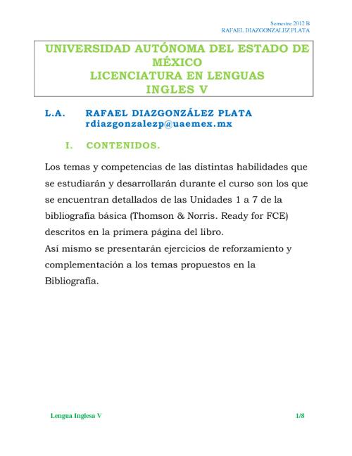 Lengua Inglesa V 2012B
