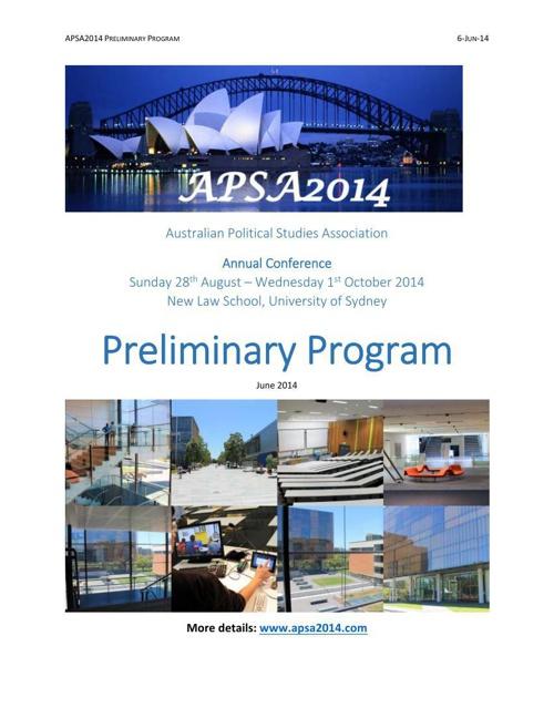 APSA2014 Preliminary Program