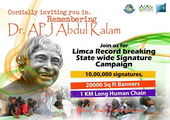 Kalam Yathra a State wide Signature campaign Marina Beach Chenna