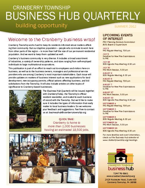Summer 2012 Business Hub Quarterly