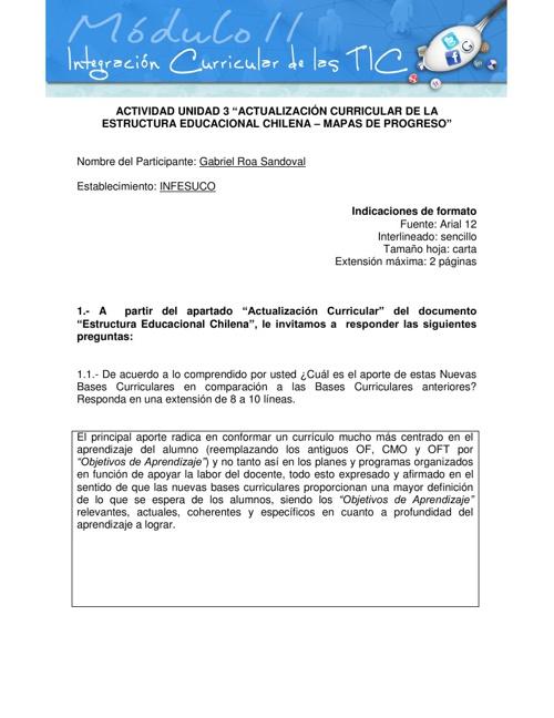 """Unidad 3 : """"Actualización Curricular y Mapas de Progreso"""""""