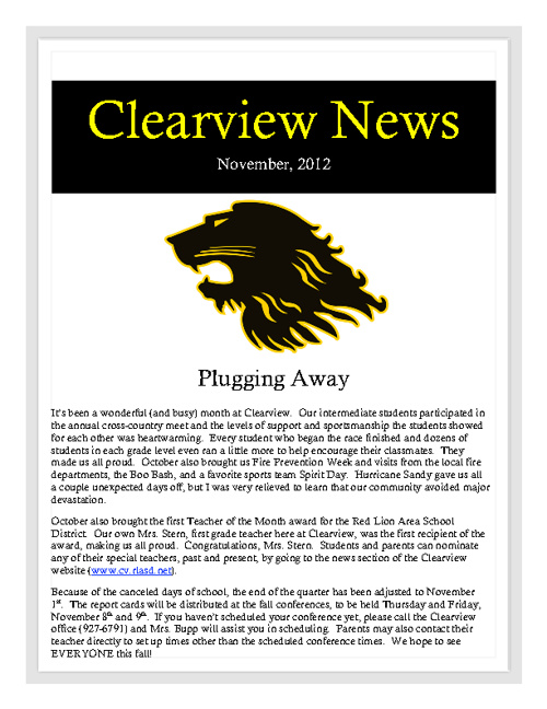 Clearview Newsletter, November 2012