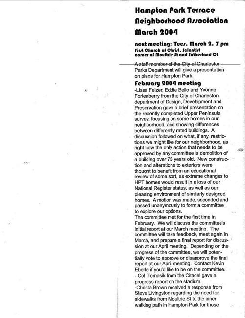 HPT Newsletter March 2004