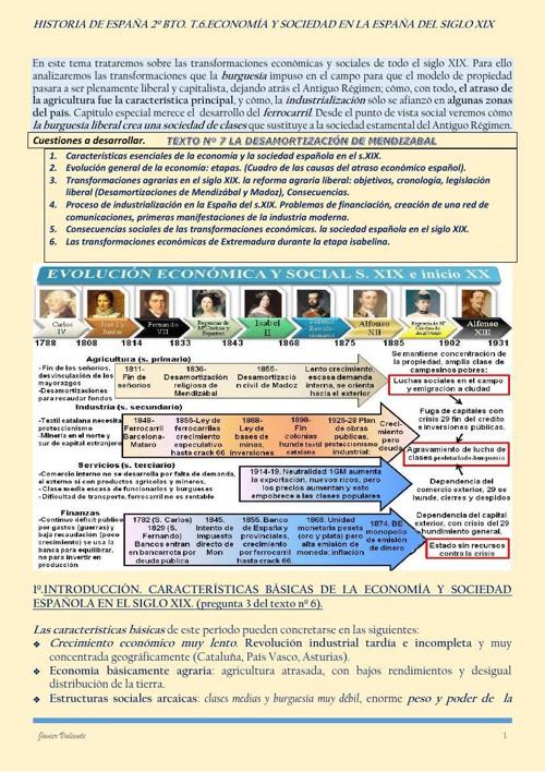 T6. ECONOMÍA Y SOCIEDAD SIGLO XIX.