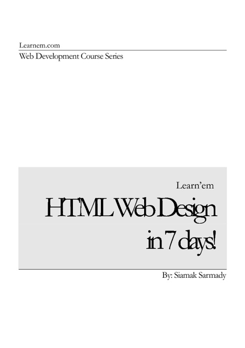 WEB DESIGNING IN 7 DAYS