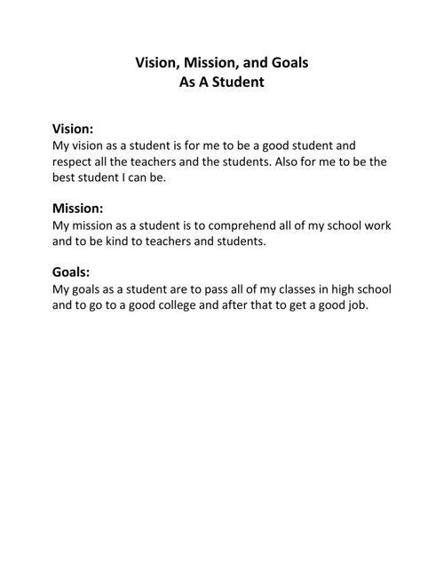 Kirsten's Vision, Mission, and Goals