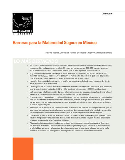 Barreras para Maternidad Segura - México
