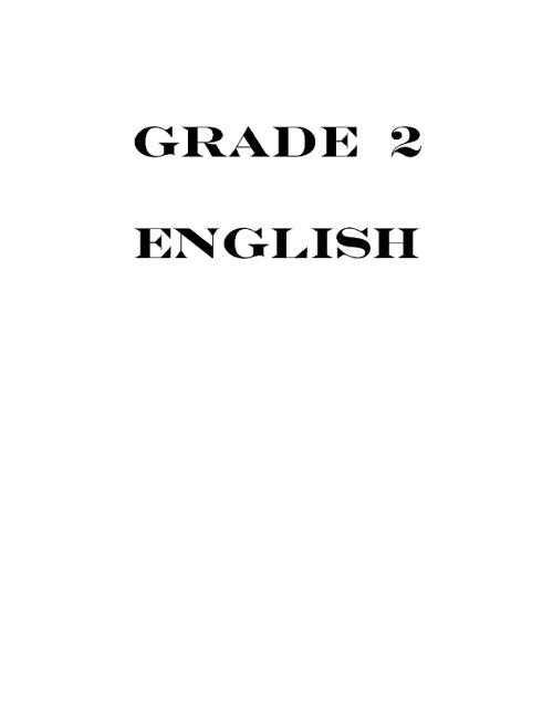 English 2nd grade