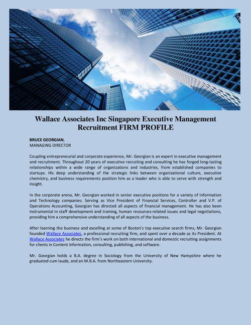 Wallace Associates Inc Singapore Executive Management Recruitmen