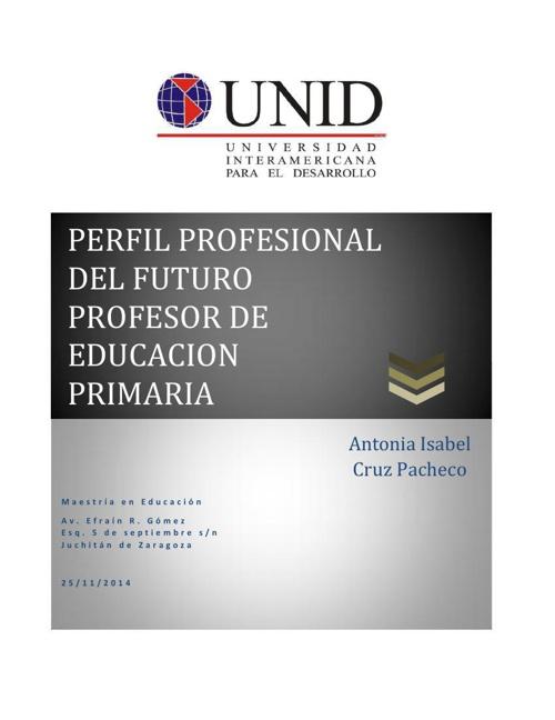 PERFIL PROFESIONAL DEL FUTURO PROFESOR