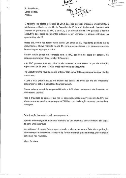 Documento de Paula Sanchez entregue à Mesa AF29abr15