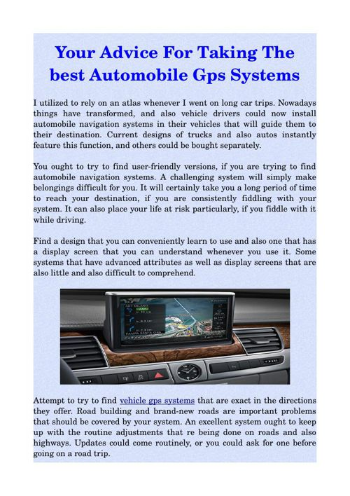 Your Advice For Taking The  best Automobile Gps Systems