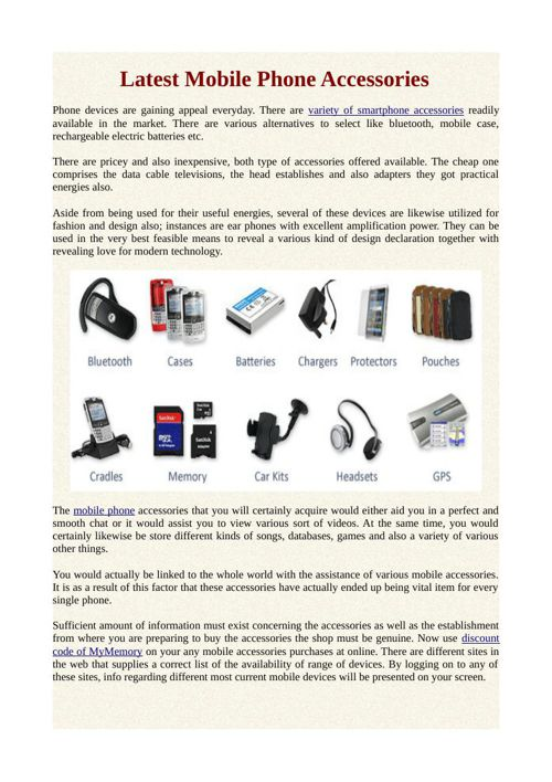 Latest Mobile Phone Accessories