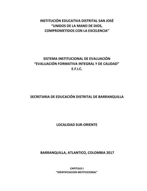 SIE - 2017 -  SISTEMA INTEGRAL DE EVALUACIÓN IED SAN JOSÉ