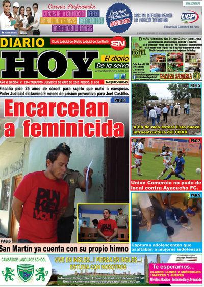 DIARIO HOY TARAPOTO , Jueves 21-05-2015