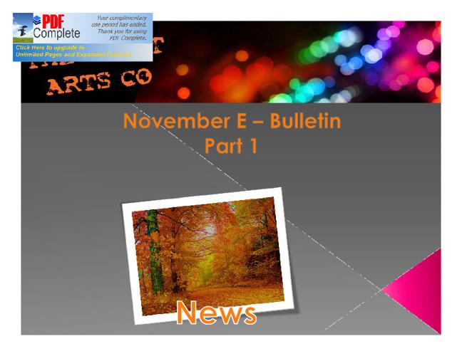 November Bulletin Part 1