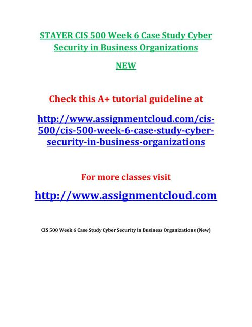 STAYER CIS 500 Week 6 Case Study Cyber Security in Business Orga